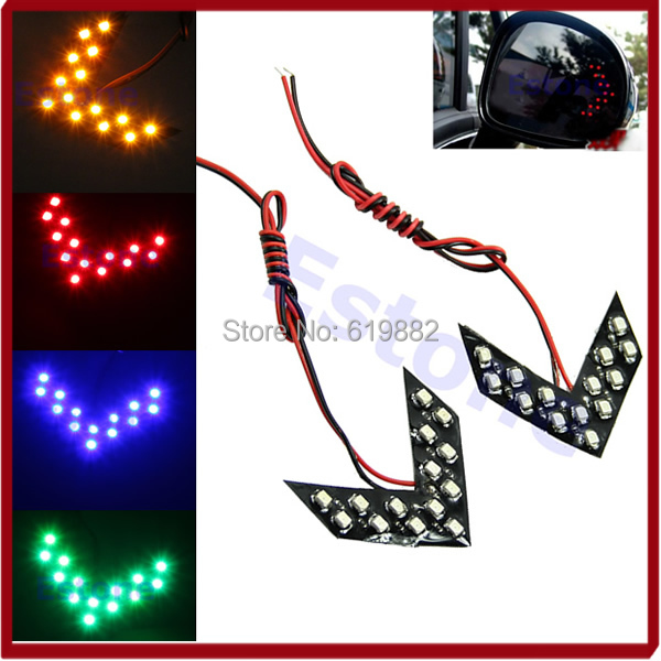 A31 Free Shipping 1Pair 14 SMD LED Arrow Panels Light Car Side Mirror Turn Signal Indicator Light(China (Mainland))