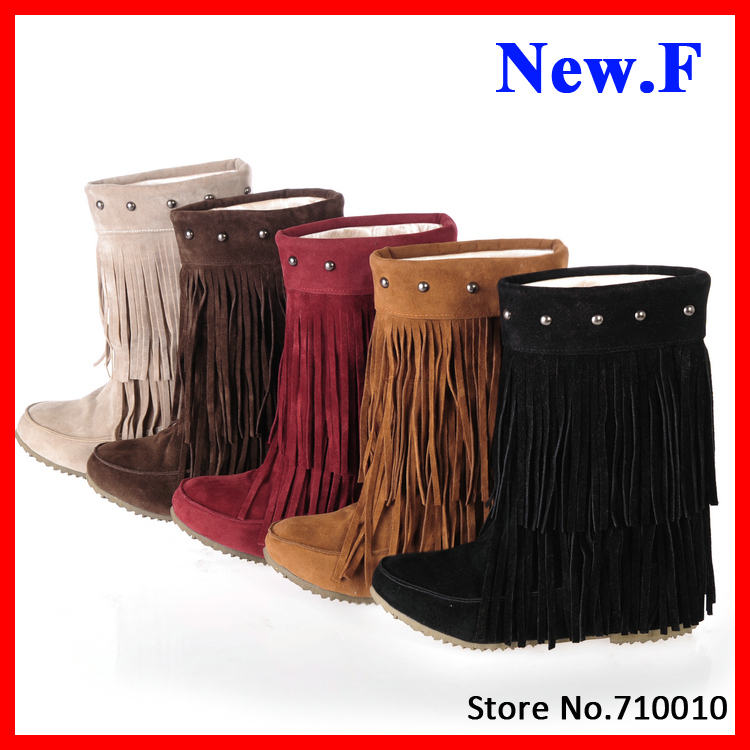 2015 Womens 3 Layer Fringe Tassels Flat Heel Boots Zapatos Decoration Mid-Calf Slouch Shoes Plus Size34-43 botas zapatos RA631<br><br>Aliexpress