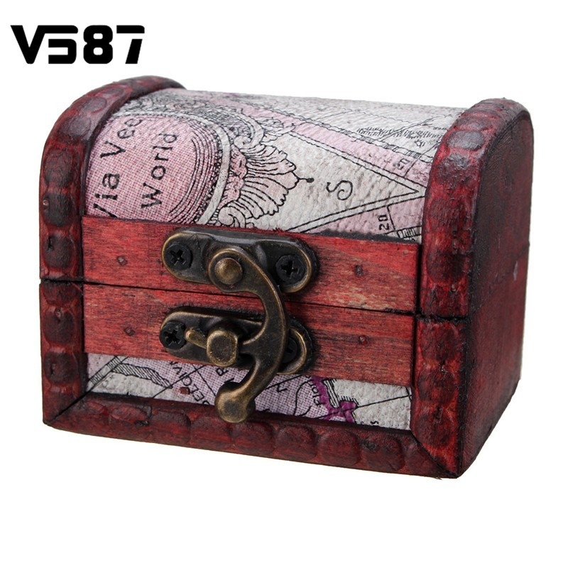 Vintage Trinket Box Retro Map Style Wooden Mini Box Gift Case Storage Jewelery Desktop Decorative Lockable Container(China (Mainland))