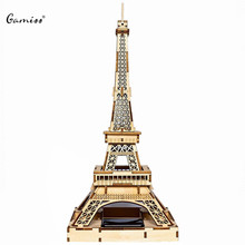 New Arrival Colored Drawing DIY Veneer Paris Tower with Automatic Solar LED Light Sensation Romantic Gift for Valentine's Day(China (Mainland))