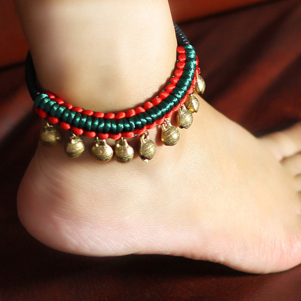 Hand Weave Bohemian Style Tribal Ethnic Women Barefoot Sandals Vintage Copper Bell Anklet Bracelets Leg Chain Foot Jewelry LG049(China (Mainland))