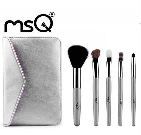 MSQ Product 5pcs Animal Hair Makeup Brush Set with a PU Leather Bag Cosemtic Makeup Brush Set For Travel Free Shipping(China (Mainland))