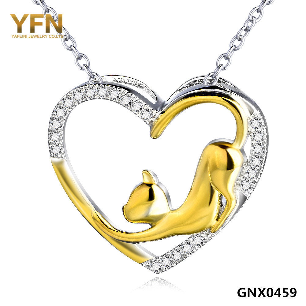 GNX0459 100% Real Pure 925 Sterling Silver Crystal Heart Pendant Necklace with 18K Gold Plated Cat Valentine's Gifts For Women(China (Mainland))