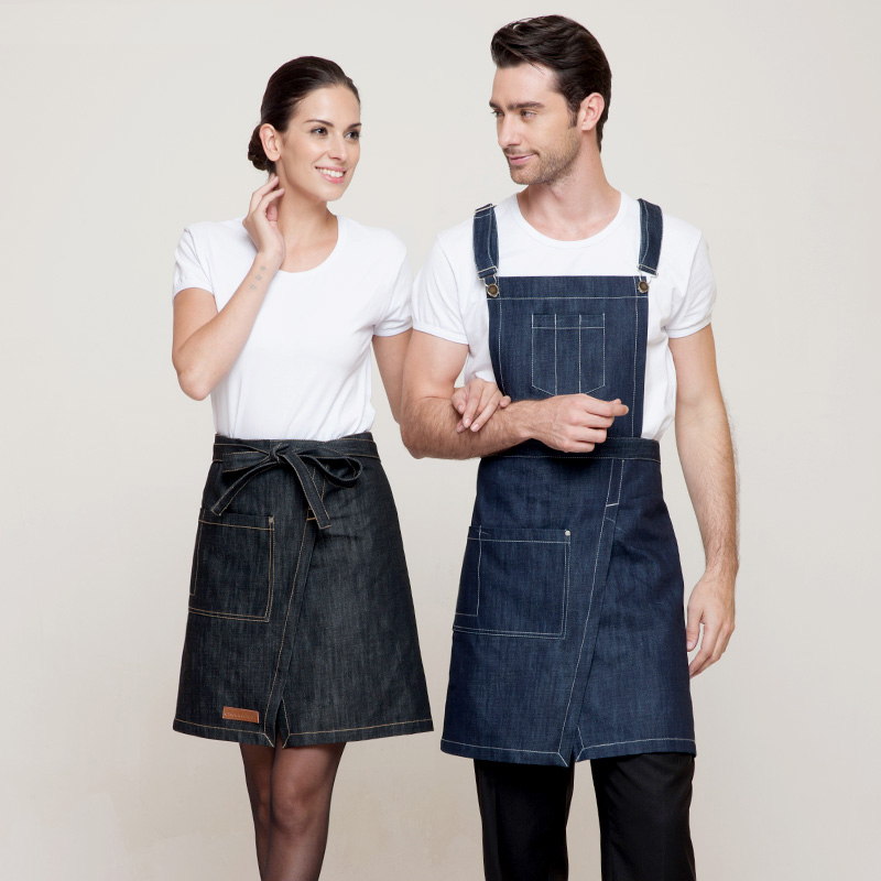 High Quality Sexy Denim Cotton Women Men Funny Apron Work For Barber Baker Waiter Aprons work wear(China (Mainland))