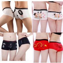 2pcs/lot Free shipping cotton men's boxer + lady's briefs underwear shorts PINK Lovers underwear cartoon couple