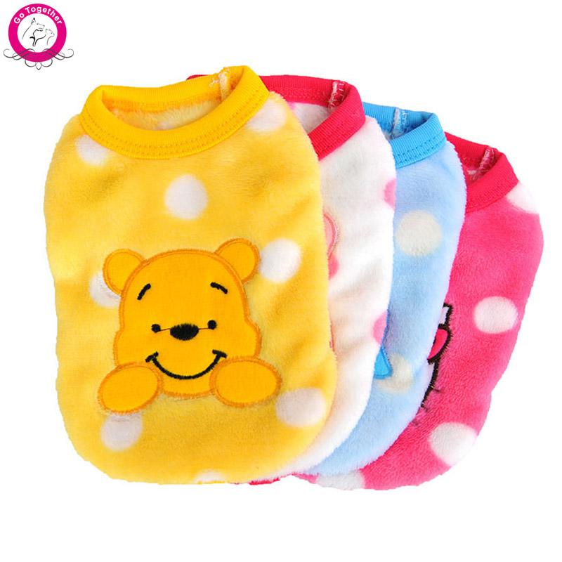 Cartoon Small Dog Clothes Soft Fleece Winter Warm Cup Dog Vest New Born Puppy Clothing