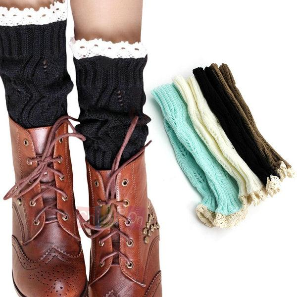 1 Pair Women's Knitted Lace Trim Boot Shoes Cuffs Toppers Leg Warmers Foot Socks - Chineon Tech store