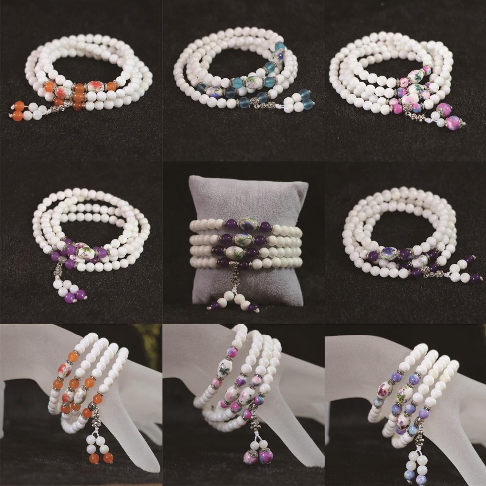 Natural white tridacna 6mm 108 beads Multilayer Bracelets multicolor jade fashion Hot sell female diy bracelets B787(China (Mainland))
