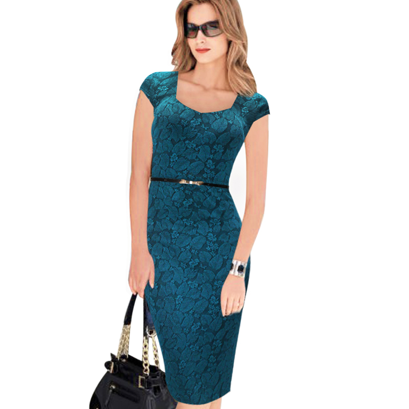 2015 Women Summer Belted Elegant Floral Print Check Cap Sleeve Tunic Work Business Casual Party Pencil Sheath Wiggle Dress 288(China (Mainland))