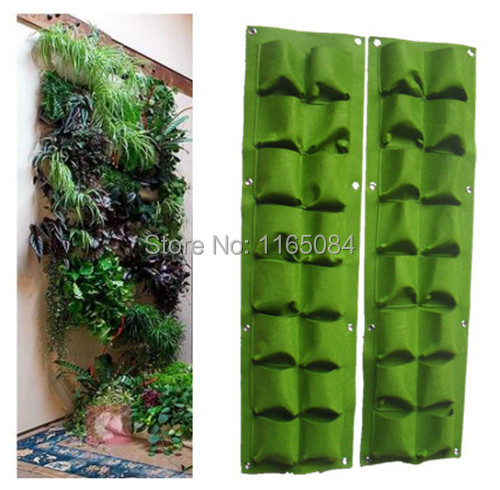 16 Pockets Green Grow Bag Wall Hanging Planter Vertical