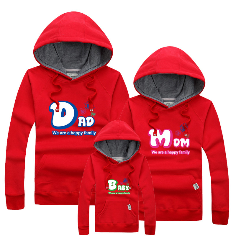 2015 New Autumn Winter Family Clothing Thicken Plus Velvet Hoodies For Family  Mother Daughter Father Son Clothes Sweatshirts<br><br>Aliexpress