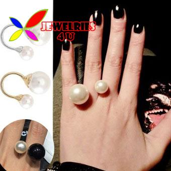 2014 hot fashion gold silver alloy designer double simulated pearls bead women's cuff finger ring bagues ensemble bijoux anillos - Jewelries4U **Min. order is $10** store