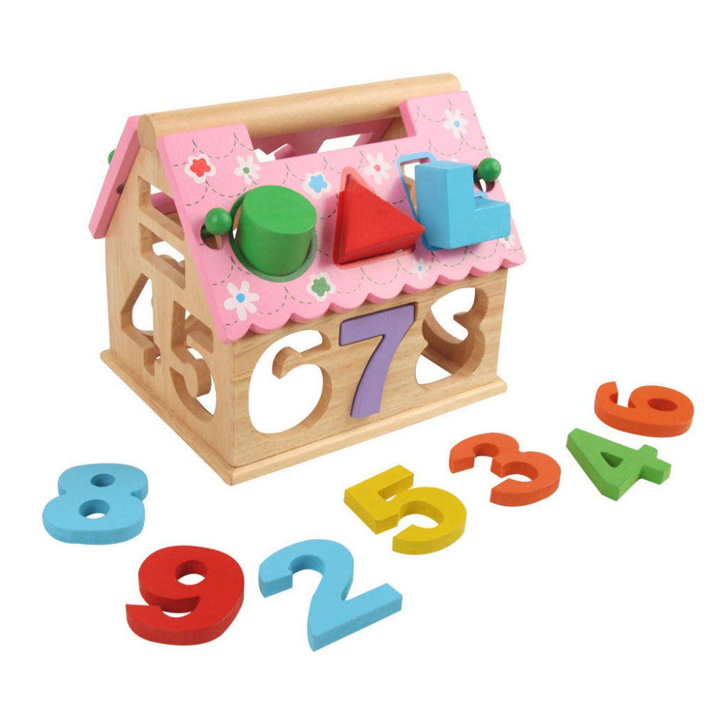 Wooden Building Block Houses Toy Geometry Box Pairing House Digital Number Kids Children Building Educational Early Education<br><br>Aliexpress