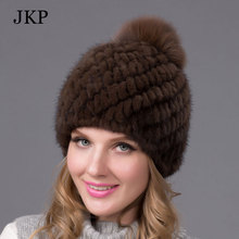 Hot sale real mink fur hat for women winter knitted mink fur beanies cap with fox fur pom poms brand new thick female cap BZ-04(China (Mainland))