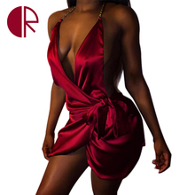 2016 New Arrival Summer Satin Harness Dress Red/Gold Deep V-neck Slim Mini Dress Women's Sexy Nightclub Party Pleated Dresses(China (Mainland))
