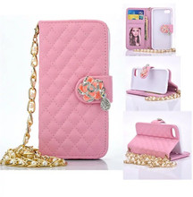 New Luxury Shoulder Bags For iPhone7 7 Plus 5.5 Lattice Pattern Elegant Women Wallet Leather Metal Chain Jewelry Phone Case