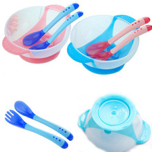 Baby Kids Learnning Dishes With Suction Cup Assist Food Bowl + Sensing Spoon Set
