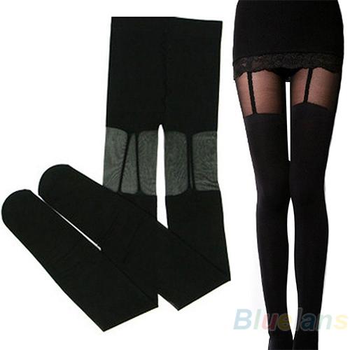 Мода эластичный чулки Sweety черный леггинсы , украшенные подвязки 1N6H
