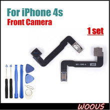 1set New arrivel Mobile phone front camera for iphone 4S front camera with flex cables + tool