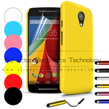 Slim Hard Back Case for Motorola Moto G2 G 2nd Gen XT1068 Cover Skin Anti Scratch with free screen protetcor and stylus