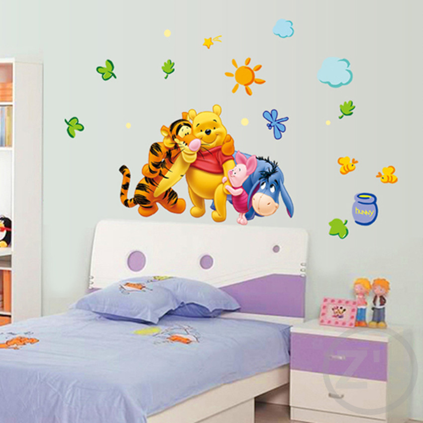 Winnie the pooh wall sticker home decor cartoon wall decal for Childrens wall mural stickers
