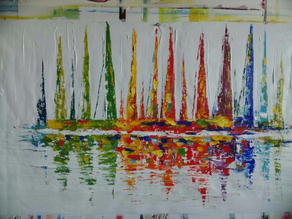 Buy Oil Painting Abstract Pictures Contemporary Seascape Palette Knife Painting of Drawing Abstract Sailboats Painting on Canvas cheap