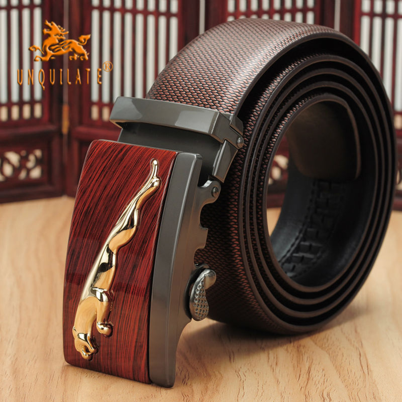 UN QUILATE Gold Plated Mahogany Automatic Buckle Strap Male Genuine Leather Belt First Layer of Pure Cowhide Waist Belt(China (Mainland))