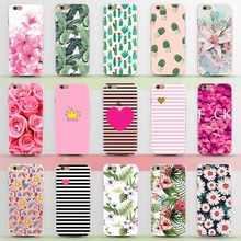 New Arrival Ultrathin Soft TPU Case for iphone 5 5s SE 6 6s 7 6plus Flowers Daisy Plants Fruit Cactus Leaves pattern Phone Case(China (Mainland))