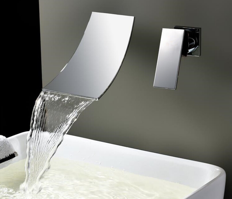 Wall Mounted Waterfall Bathroom Faucet Chrome Brass Spout Vanity Sink Mixer T