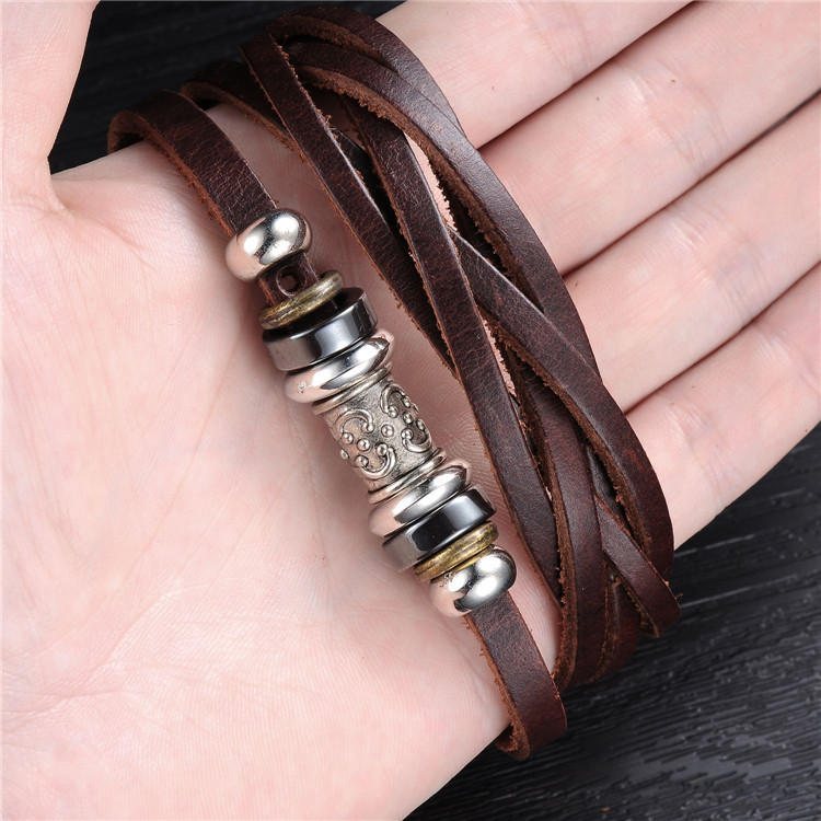 New 2015 Fashion OPK Brand Multi Layer Male Genuine Leather Men Stainless Steel Rivet Charm Bracelets