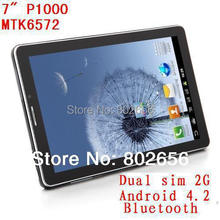 7 inch  2G Phone call P1000  GSM dual SIM card MTK 6572 512MB DDR3 A8 Android 4.2 Bluetooth FM tablet pc(China (Mainland))