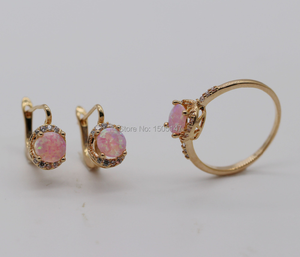 Wholesale Beautiful Cute Round Jewelry Set Pink Fire Opal 925 Gold Plated Stamp Earrings&amp;Ring Set<br><br>Aliexpress
