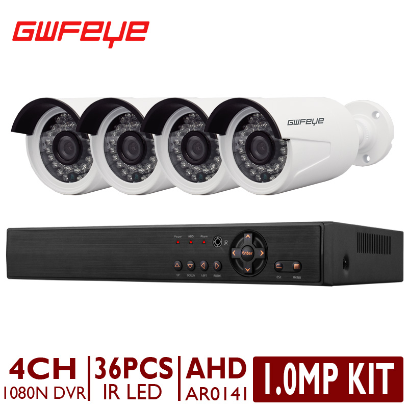 GWFEYE 4CH Channel 1080N Full HD AHD DVR Security System Kit With 4PCS 1.0MP Outdoor Bullet Surveillance CCTV Cameras AR0141(China (Mainland))