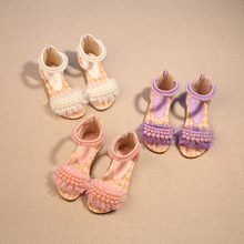 2016 Children summer open-toed sandals Girls princess pearl lace shoes kids flat Sandals babay Shoes wholesale SIZE 21-36 B-617(China (Mainland))