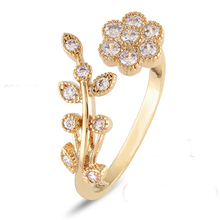 Adjustable Rings For Women 14k Gold Plated Flower Ring Mini Finger Women Rings Fashion Wedding Jewelry christmas gift 36-4(China (Mainland))