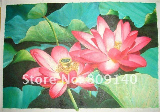 free shipping oil painting canvas Red Flower Chinese Lotus Classical Home decoration Office wall art decor high quality handmade