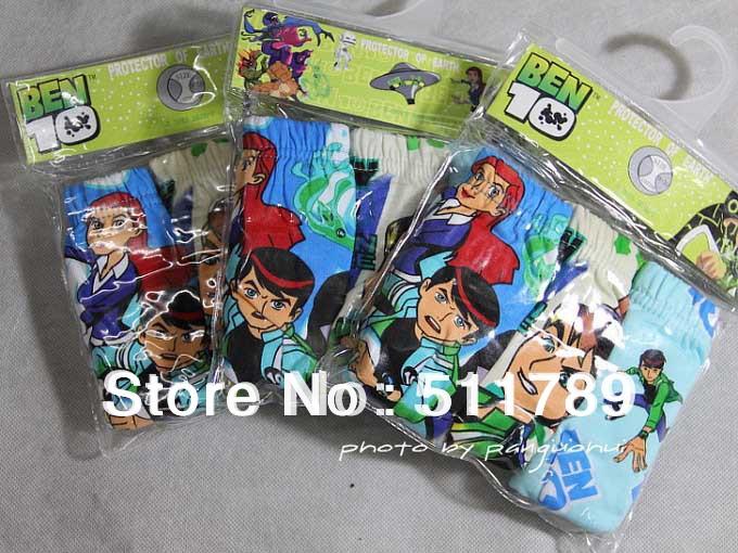 Children 100% Cotton panties Boys Ben 10 printing Cartoon characters Underwear Kids Underpants briefs (2-12Y) hotsaleTX-003-B005(China (Mainland))