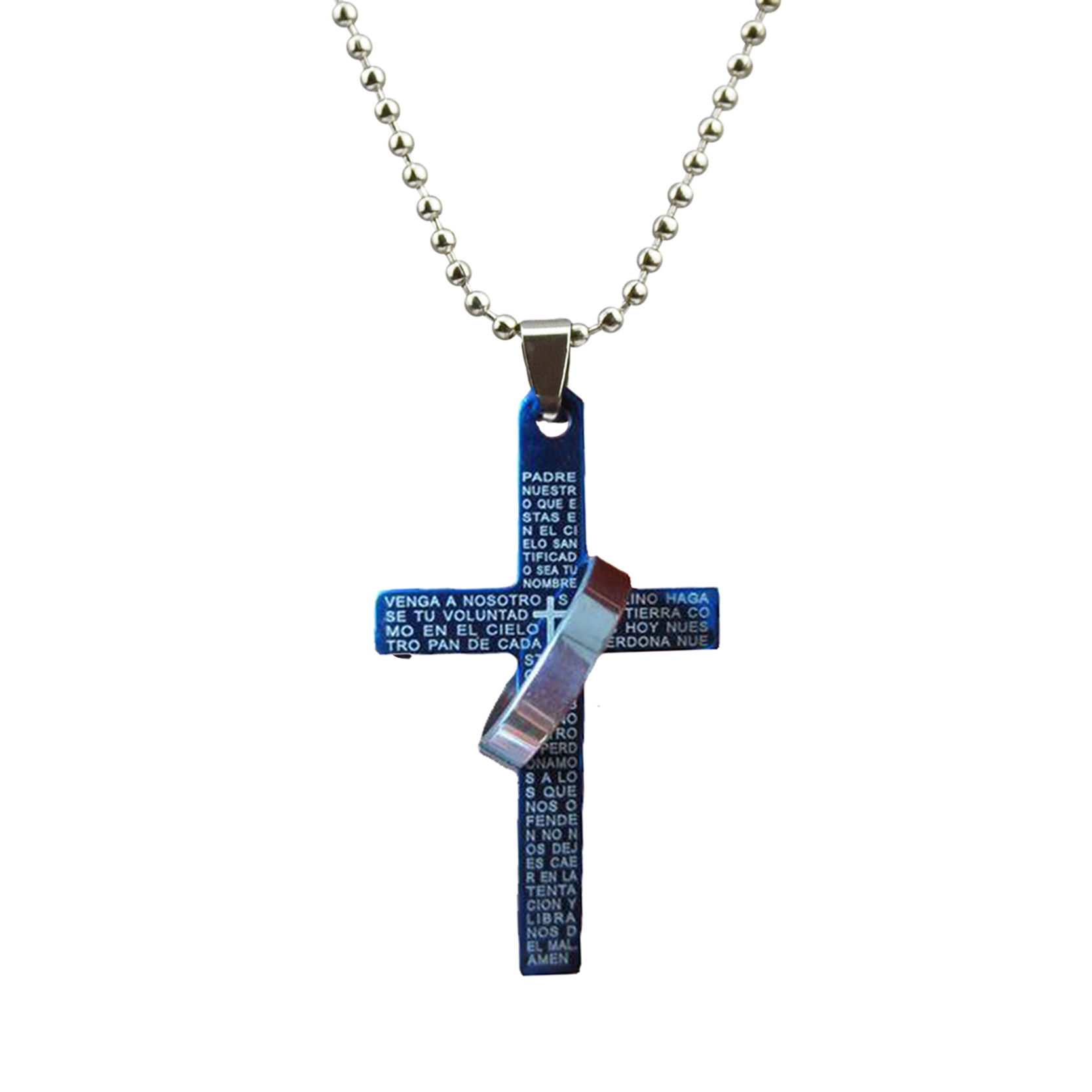 Punk Style Stainless Steel Bible Cross Pendant Necklace Fashion Jewelry For Men