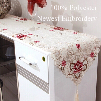 European style Embroidery table runners white Polyester table mat pad for wedding banquet hotel table Textiles(China (Mainland))