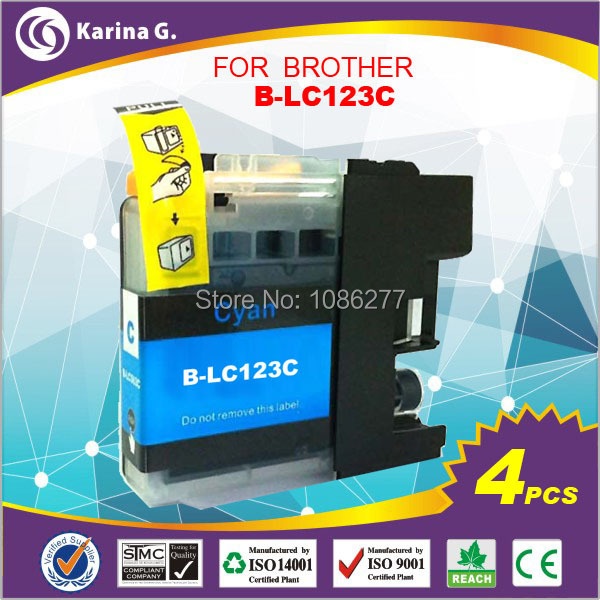 Гаджет  Color replacement ink tanks for brother printer MFC-j6920DW DCP-j4110DW  LC 123C  LC-123 4PK  None Офисные и Школьные принадлежности