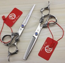 FAST Shipping! professional set of 6 inch JAPAN 440C high-grade hairdressing hair scissors salon barber shears with leather case