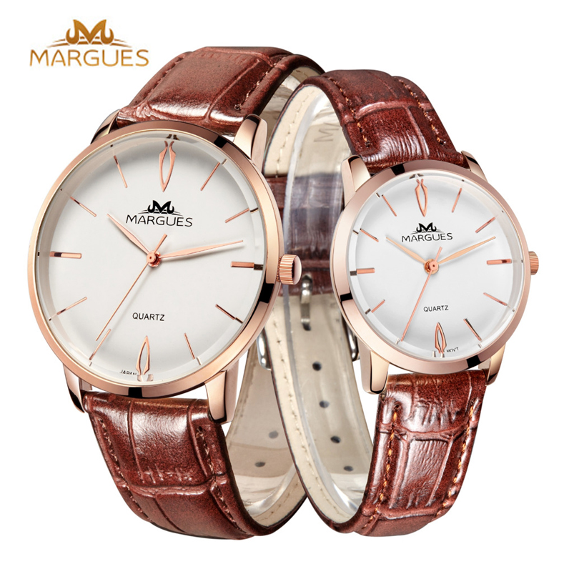 MARGUS Tricolor Classic Retro Minimalist Dial Men and Women Lovers Quartz Watches Female Watch leather Clock Wrist Watch(China (Mainland))