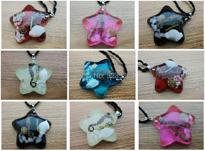 FREE SHIPPING 5 PCS real seahorse valentine five star design Necklace mix colorful Promotion Gift,novel gift,novel souvenir,(China (Mainland))