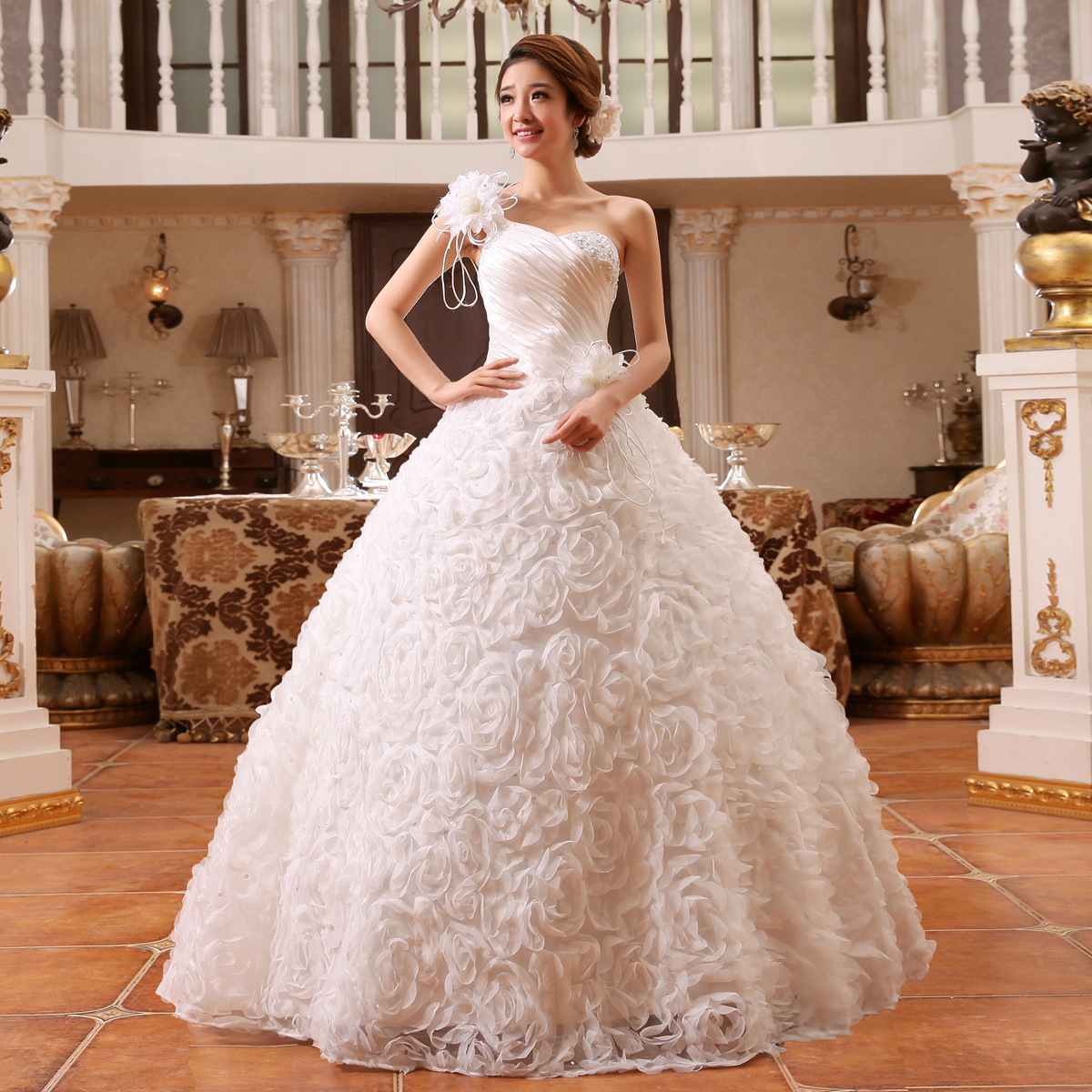 Suzhou wedding dress 2015 one shoulder strap slim princess for One strap wedding dress