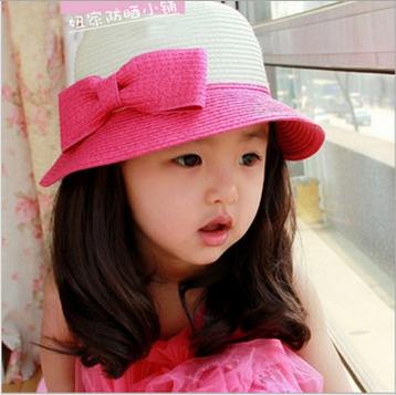 Cute Girls Sun Hat Straw Kids summer hat Mixed Order Drop Shipping(China (Mainland))