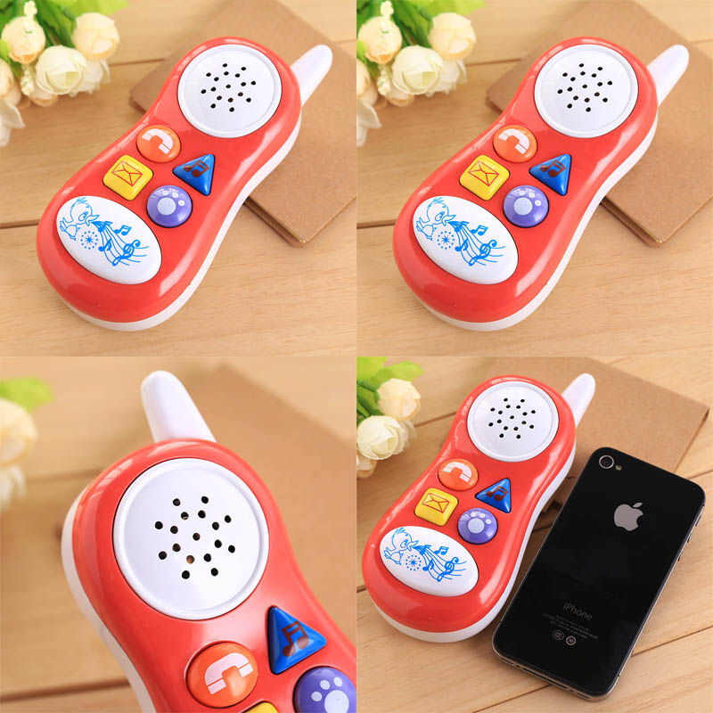 new press button cartoon play talking sound Educational Toy Gift funny kids Cell Phone random colors(China (Mainland))