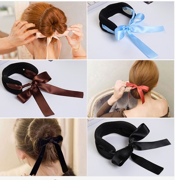 Hot Selling Girls Dish Hair Ballet dancer Holder Satin Colored Ribbon For Ponytail Cute Bud Head/Meatball Head For Kids(China (Mainland))