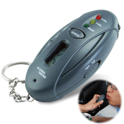 Mini Breath Alcohol Tester With Timer (black) LED flashlight with key chain(China (Mainland))