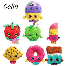 7pcs/lot Fruit Plush Toys Strawberry Apple Cookies Donuts Lipstick Chocolate Muffin Toys for Girl Dolls & Stuffed Wj185(China (Mainland))