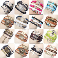 Multilayer Braided Charm  Bracelet  Fashion Jewelry Leather Double Infinite Multilayer Bracelet Factory Price Wholesales